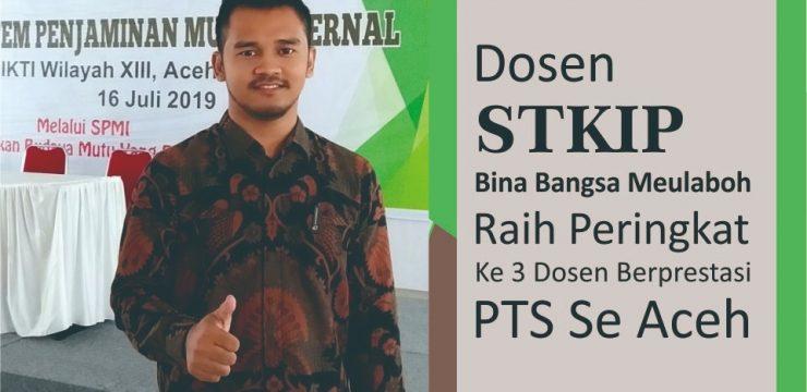 Dosen STKIP Bina Bangsa Meulaboh Raih Peringkat Ke 3 Dosen Berprestasi PTS Se Aceh