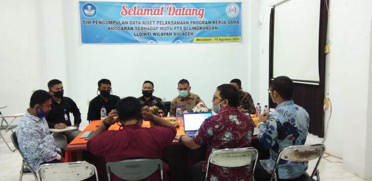 Selamat Datang Tim pengumpulan data riset pelaksanaan Program kerja sama anggaran terhadap mutu PTS di lingkungan LLDIKTI Wilayah XIII Aceh